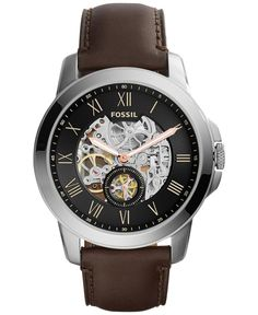 A modern skeleton dial gives this watch by Fossil a unique appearance. From the Grant collection. | Dark brown leather strap | Round stainless steel case, 45mm | Skeleton dial with Roman numerals, thr