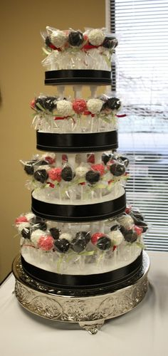 stand ideas for my cake pop Bday cake... use my silver tray for silver Bday!