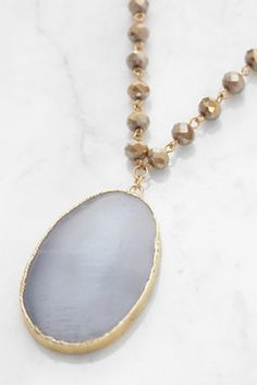 South Moon Under Agate Beaded Pendant Necklace in GREY