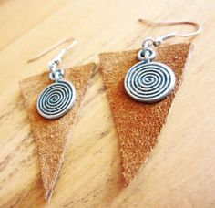Triangle Suede Earrings on etsy - interesting