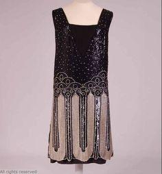 1920s black silk beaded dress