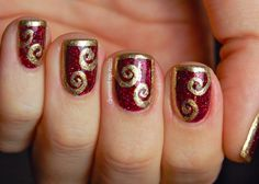 Classy Golden Floral Curves Motif On Fancy Red Shimmer Nail Art Idea For Short Nails - #prom Red Nail Art
