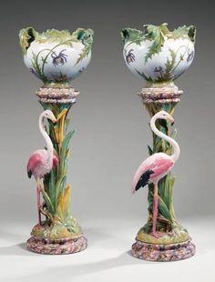 Clement Massier Flamingo Jardinieres 1920's