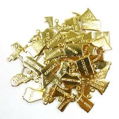 United States All The State Charms Gold Plated 50 pieces