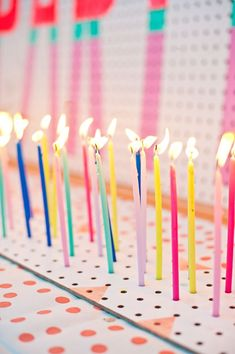 Pegboard birthday candle display A Subtle Revelry - Entertainment Long Candles, Red Candles, Candle Maker, Candlemaking, Diy Birthday, Birthday Parties, Happy Birthday, Bear Birthday, Messages