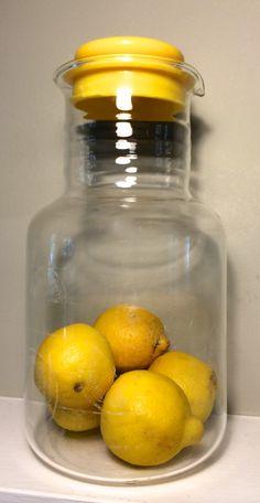 Vintage Pyrex Corningware Lemon Glass Juice Carafe by NCLVintage