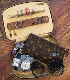 Obsessing over this LV Jewelry Case and everything inside!! Shop all items shown on www.mymoshposh.com! #louisvuitton #lvjewelrycase #monogram #louisvuittonbag #lvlover #lvobsessed #michelewatches #hermes #hermeshbracelet #tomfordsunglasses #louisvuittonjewelry #tiffanyandco #davidyurman #moshposhfinds #mymoshposh #bagsoftpf #purseblog #designerconsignment