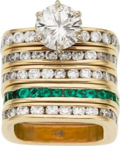 Diamond and Emerald Rings Stacked!