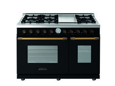 Range DECO 48'' Classic Black matte, Bronze trim, 6 gas, griddle and 2 gas ovens with the main cavity equipped with 2 convection fans and broiler. Also available in Dual Fuel option with self-cleaning capabilities.