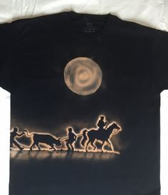 Cowboy Steer/Cow Wranglers Black Cotton T-shirt Hand Bleach Painted Size 2XL   Each bleach painted shirt is individually crafted. $24.95 USD