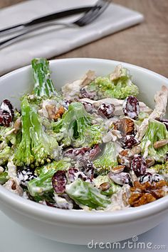 Broccoli salad with chicken, walnuts, sunflower seeds, cranberries and yogurt