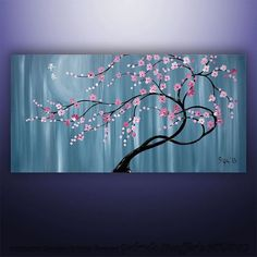 """CUSTOM PAINTING Abstract Painting Original Modern  Asian Blossom Tree Original Painting Art by Gabriela 48""""x24"""" Abstract Asian Painting on Etsy, Sold"""