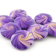 Polymer Clay Beads Swirl Beads Lentil in Purple by RolyzCreations