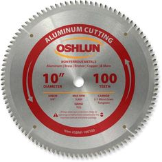 Oshlun SBNF-100100 10-Inch 100 Tooth TCG Saw Blade with 5/8-Inch Arbor for Aluminum and Non Ferrous Metals -  Product Features  Professional grade C-1 carbide Negative hook angle Triple chip tooth grind Precision ground carbide tips Copper plugged ex