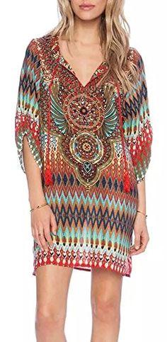 ee15eaef718 Dress Women bohemian dress 2017 Ethnic Ropa Mujer sleeve Loose V neck  vintage print dress short hippie vestidos femininos