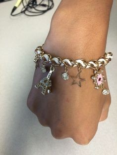 Wish | lovely Retro Girl Womens Multielement Gold Chain Leather Rope Crystal Handmade Bracelet