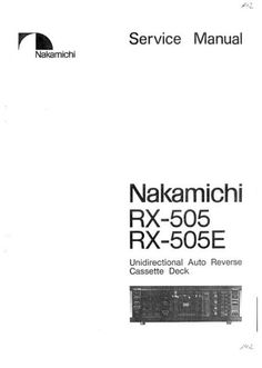 Nakamichi RX-505 Original Service Manual in PDF PDF format suitable for Windows XP, Vista, 7 DOWNLOAD Procedural Writing, Electrical Wiring Diagram, Windows Xp, Audio Equipment, Manual, Technology, The Originals, Tech, Textbook