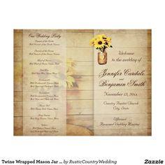 """Twine Wrapped Mason Jar Sunflower Wedding Program 8.5"""" X 11"""" Flyer"""