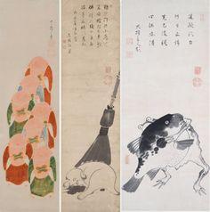 左から 《伏見人形図》《仔犬に箒図》《河豚と蛙の相撲図》