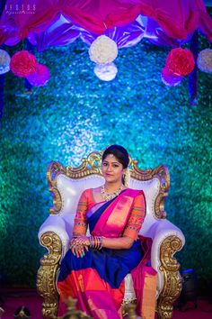 A Colourful South Indian Engagement That Took Place In The Bride's Beautiful House Engagement Stories, Engagement Dresses, Bridal Silk Saree, Saree Wedding, Wedding Album, South Indian Bride, Indian Bridal, Horoscope Love Matches, Indian Engagement