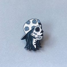 Sugar Skull Skater Girl Enamel Pin by MidnightAndVine on Etsy