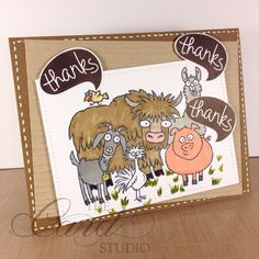 Cute Thanks Card. Handmade by Whitney from The Card Studio Made with: Stampin' Up! - From the Herd Stamp Set, Woodgrain Embossing Folder & Many Marvelous Markers.  Lawn Fawn - Stitched Rectangles dies , & Chit Chat Stamp Set.