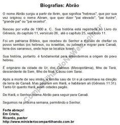 Mensagem Devocional de 12/02/2018: Biografias: Abrão (1)  Para ler no blog: https://devocionais2018.blogspot.com/2018/02/biografias-abrao-1.html