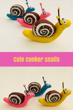 Gather conkers and turn them into these super cute little snails with a dab of paint and some Plasticine. A gorgeous autumn craft for kids. Time: 15 mins Age: Toddlers to big kids Difficulty: Intermediate Clay Crafts For Kids, Projects For Kids, Simple Projects, Garden Projects, Nature Crafts, Fall Crafts, Autumn Crafts For Kids, Snail Craft, Unicorn Kids