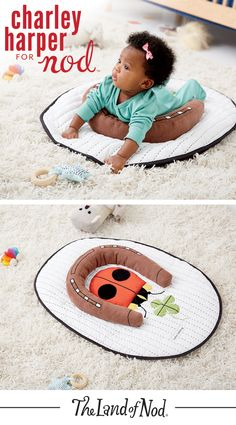 Babies will go wild for our Charley Harper tummy time mat. With intricate embroidery and a playful ladybug design, it's the perfect complement to any animal themed nursery.
