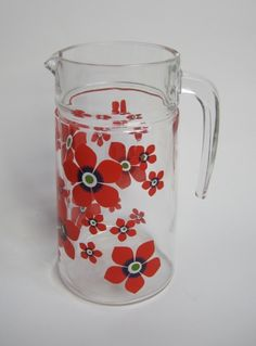 Vintage 1970s Kitsch Red Flower Print Glass Water Jug available to buy online at Virtual Vintage Clothing £15