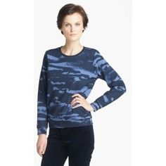 Best Quality  Camouflage Print Sweatshirt Bleu Fonce Small