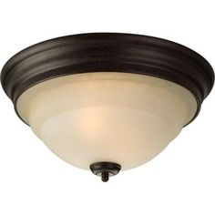 Progress Lighting Torino Collection 2-Light Forged Bronze Flushmount-P3184-77 - The Home Depot
