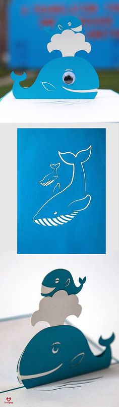 Say congratulations on your new baby with this adorable pop up card of a mama whale and her little one. #NewMom #expecting