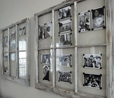 use old window frames and photo corners to create a rotating display of photos. … use old window frames and photo corners to create a rotating display of photos. using black white images creates a cohesive grouping. Home Projects, Interior, Old Window Frames, New Homes, Home Decor, House Interior, Diy Vintage, Home Diy, Reclaimed Windows
