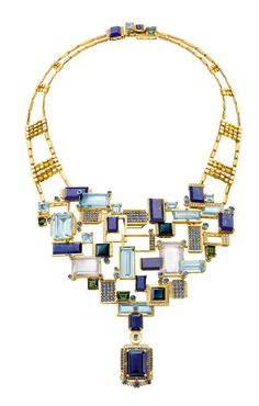 Chow Tai Fook Reflections of Siem Halcyon necklace, with emerald-cut aquamarines, lapis lazuli, tourmalines and blue sapphires mounted to resemble the floating villages on Lake Tonlé Sap, forms part of the jeweller's 4th annual collection of high jewellery.