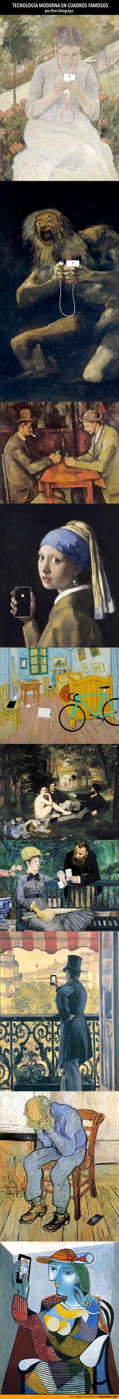 Tecnología moderna en cuadros famosos.  Imágenes por Kim Dong-kyu.