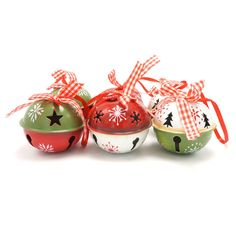 Christmas tree decorations 6pcs red green white metal jingle bell with ribbon for home 50mm merry Christmas xmas ornaments