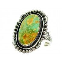 Leon Martinez, Bracelet, Royston Turquoise, Sterling, Navajo Handmade 6.25