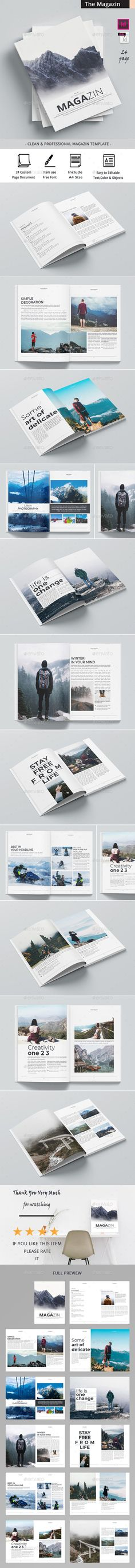 The Magazine / Clean & Professional Magazine Template that is super simple to edit and customize with your own details! Can be used for other business too. Simply add your own images and text, I hope you like it Indesign Magazine Templates, Cool Magazine, Business Brochure, Layout Design, In This Moment, Poster, Super Simple, Bohemian, Graphic Design