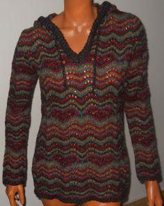 Royal Robbins Sweater Hoodie Large Sophia Knit Multi Stripe Navy Wine Green Gray #RoyalRobbins #Hooded
