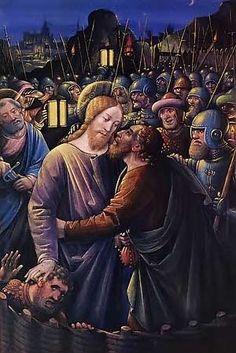 "Jesus Betrayed By Judas' Kiss.  ""And as soon as he was come, he goeth straightway to him, and saith, Master, Master and kissed him. -Mark 14:45"