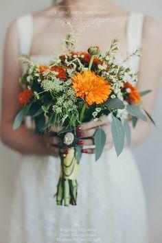 оранжевый букет невесты  #bride #flowers #bouquets