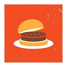 Burger Icon   hand made 3 color screen    print measures 12.5 x 12.5 inches    hand signed edition    artist: Aesthetic Apparatus  $20  #food #burger #illustration