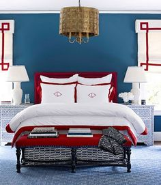 more-red-white-and-blue-chinoiserie.  So many elements in this room that I like including the lovely bedsides and that wonderful light fitting