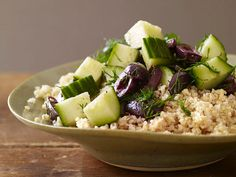 Whole Grains : Mediterranean cuisine augments fresh ingredients with healthy whole grains. Quick-cooking bulgur is a favorite used for tabbouleh salad, and this cucumber, dill and olive-topped side dish.