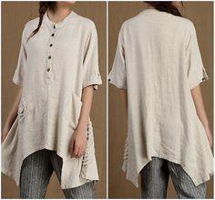 Summer short sleeved Shirt Loose Asymmetric Long Shirt by MaLieb, $89.00
