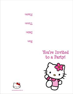 Hello Kitty Free Printable Birthday Party Invitation Personalized Intended For Hello Kitty Birthday Card Template Free - Template Ideas Hello Kitty Invitation Card, Hello Kitty Birthday Invitations, Birthday Invitation Card Template, Printable Invitation Templates, Kids Birthday Party Invitations, Birthday Parties, 7th Birthday, Invitation Maker, Invitation Cards