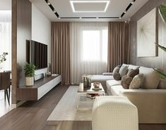 Beige Living Rooms, Elegant Living Room, Home Living Room, Living Room Decor, Ceiling Design Living Room, Interior Design Living Room, Living Room Designs, Design Salon, Luxury Homes Interior