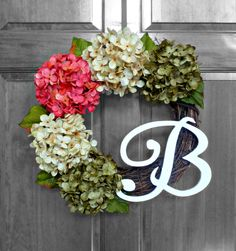 Realistic pink, green and cream hydrangeas with your choice of monogram letter.