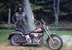 Hells Angels New York City. An Angel photographed with his absolutely killer ride for the 1994 Hells Angels calendar